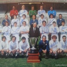 Coleccionismo deportivo: EXCEPCIONAL POSTER DEL REAL MADRID FIRMADO POR LOS JUGADORES 1977 - 78 . FIRMAS ORIGINALES!!!!. Lote 112558415