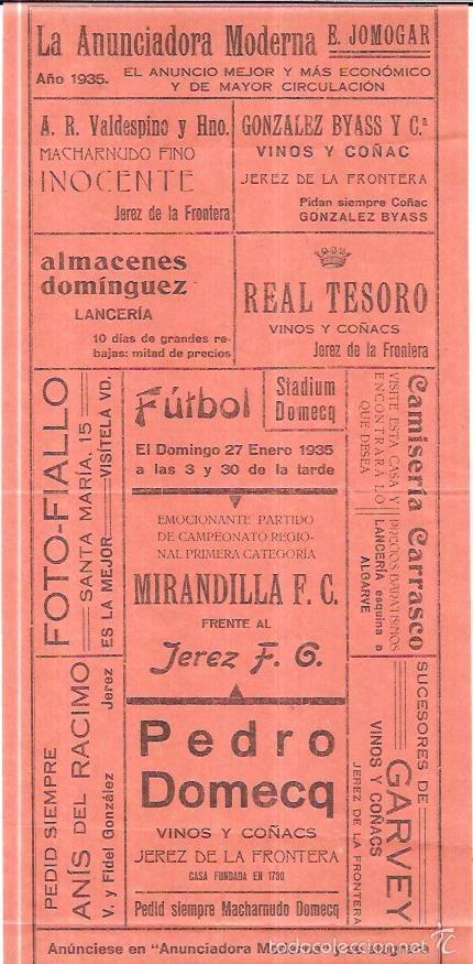 STADIUM DOMECQ. JEREZ. PARTIDO MIRANDILLA F.C FRENTE AL JEREZ F.G. 27 ENERO 1935. 32,4 X 14,4CM (Coleccionismo Deportivo - Carteles de Fútbol)
