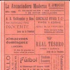 Coleccionismo deportivo: STADIUM DOMECQ. JEREZ. PARTIDO MIRANDILLA F.C FRENTE AL JEREZ F.G. 27 ENERO 1935. 32,4 X 14,4CM. Lote 56429608