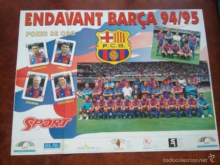 PÓSTER ENDAVANT BARÇA 94/95. POKER DE ORO: ROMARIO,HAGI,KOEMAN,STOICHKOV (Coleccionismo Deportivo - Carteles de Fútbol)