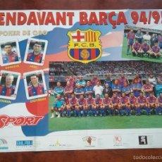 Coleccionismo deportivo: PÓSTER ENDAVANT BARÇA 94/95. POKER DE ORO: ROMARIO,HAGI,KOEMAN,STOICHKOV. Lote 56986955