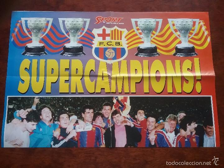 Coleccionismo deportivo: POSTER GIGANTE SUPERCAMPIONS. MEDIDAS: 80 X 60 CM.F.C.BARCELONA. BARÇA - Foto 2 - 56987045