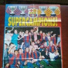 Coleccionismo deportivo: POSTER GIGANTE SUPERCAMPIONS. MEDIDAS: 80 X 60 CM.F.C.BARCELONA. BARÇA. Lote 56987045