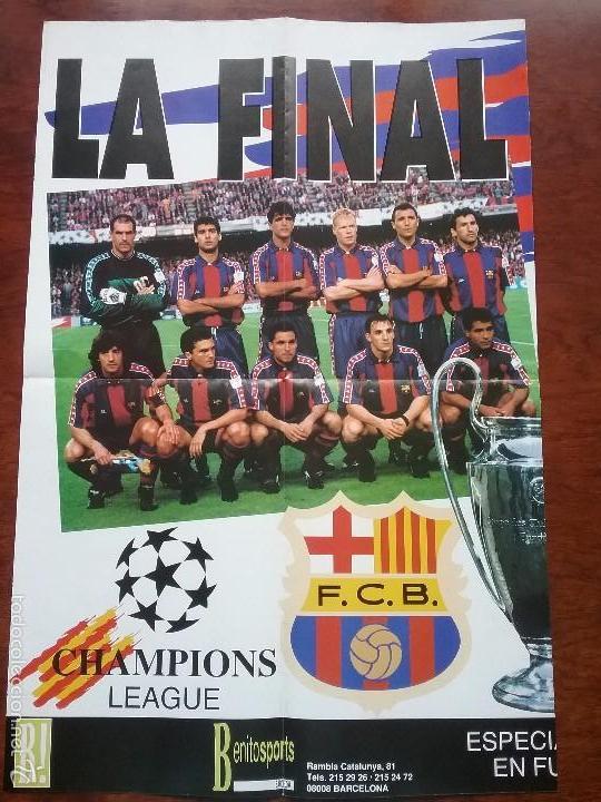 Coleccionismo deportivo: PÓSTER GIGANTE LA FINAL SOÑADA F.C. BARCELONA - MILAN AÑO 1994. MEDIDAS 80 X 60 CM - Foto 2 - 56987320