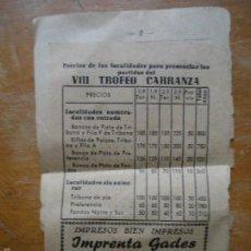 Coleccionismo deportivo: MICRO CARTEL FUTBOL CARTELITO TARIFAS TROFEO VIII CARRANZA FUTBOL CADIZ AÑOS 60. Lote 57217092