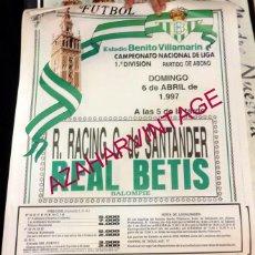 Coleccionismo deportivo: CARTEL DE FUTBOL REAL BETIS BALOMPIE - RACING C.DE SANTANDER. AÑO 1997. Lote 57321544