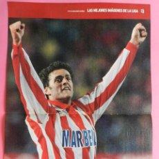 Coleccionismo deportivo: POSTER GRANDE KIKO NARVAEZ (ATLETICO DE MADRID) LIGA FUTBOL 97/98 REVISTA MAS DIARIO AS 1997/1998. Lote 255986945