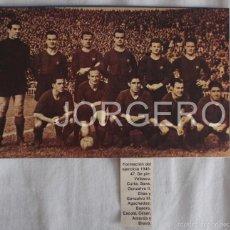 Coleccionismo deportivo: F.C. BARCELONA. ALINEACIÓN PARTIDO DE LIGA 1945-1946 EN LES CORTS CONTRA R. MADRID. RECORTE. Lote 58110750