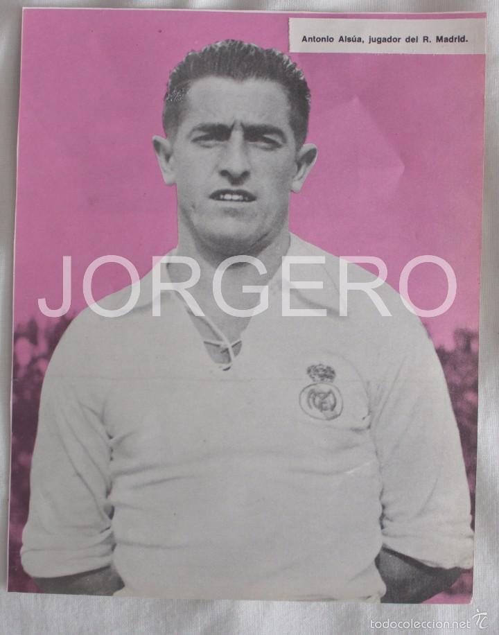 ANTONIO ALSÚA. REAL MADRID 1947-1948. RECORTE (Coleccionismo Deportivo - Carteles de Fútbol)