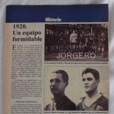 Coleccionismo deportivo: F.C. BARCELONA 1920. UN EQUIPO FORMIDABLE. HOJA DE REVISTA. Lote 58144141