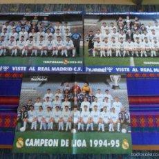 Coleccionismo deportivo: PÓSTER REAL MADRID 1992 93, 1993 94 Y CAMPEÓN DE LIGA 1994 95. 53X40 CMS. REVISTA REAL MADRID. MBE.. Lote 58295062
