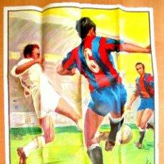 Coleccionismo deportivo: CARTEL FUTBOL - VALENCIA CF BARCELONA - SIN TEXTO - DONAT SAURI - LITOGRAFÍA ORIGINAL 1963. Lote 58467487