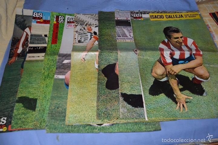 LOTAZO – 8 POSTER / CARTELES ANTIGUOS DE AS COLOR, NÚM 61, 63, 64, 66, 71, 74, 75, Y 239 - DIFÍCILE (Coleccionismo Deportivo - Carteles de Fútbol)