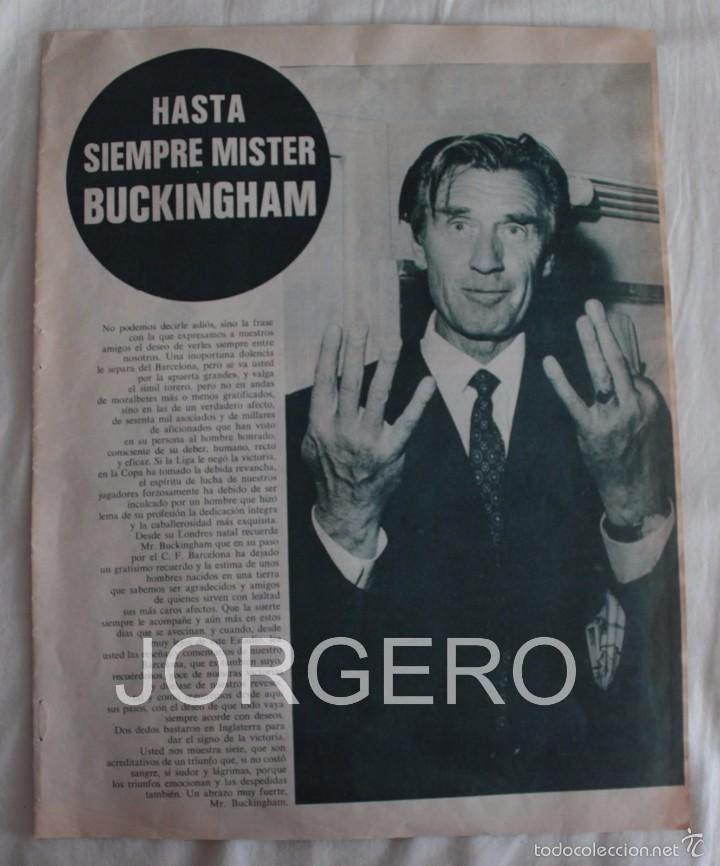 HASTA SIEMPRE MISTER BUCKINGHAM. ENTRENADOR F.C. BARCELONA 1970-1971. HOJA DE REVISTA (Coleccionismo Deportivo - Carteles de Fútbol)