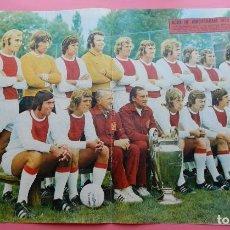 Collectionnisme sportif: POSTER GRANDE AJAX AMSTERDAM 72/73 PLANTILLA 1972/1973 Nº 95 CRUYFF REVISTA AS COLOR. Lote 62883548