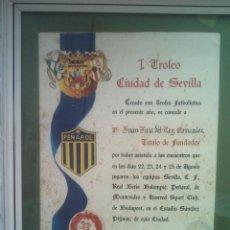 Coleccionismo deportivo: DIPLOMA I TROFEO CIUDAD DE SEVILLA 1972 CON O SIN MARCO 34X24 APROX . Lote 63297336