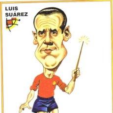 Coleccionismo deportivo: CARICATURA DE LUIS SUAREZ - LAMINA GRANDE TAMAÑO FOLIO EMITIDA POR LA FEDERACION ESPAÑOLA DE FUTBOL. Lote 64911463