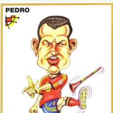 Coleccionismo deportivo: CARICATURA DE PEDRO - LAMINA GRANDE TAMAÑO FOLIO EMITIDA POR LA FEDERACION ESPAÑOLA DE FUTBOL. Lote 64915027