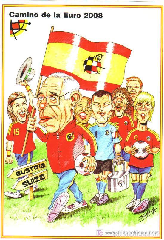 CARICATURA FUTBOL - CAMINO DE LA EURO-08 - LAMINA GRANDE TAMAÑO FOLIO EMITIDA POR LA R.F.E.F. (Coleccionismo Deportivo - Carteles de Fútbol)