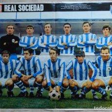 Coleccionismo deportivo: POSTER GIGANTE REAL SOCIEDAD 69/70 REVISTA ACTUALIDAD ESPAÑOLA ALINEACION LIGA 1969/1970. Lote 69601585