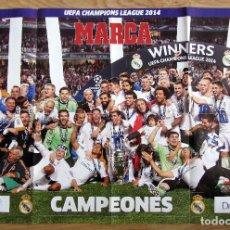 Coleccionismo deportivo: POSTER DOBLE REAL MADRID CAMPEON COPA DE EUROPA 2014 UEFA CHAMPIONS LEAGUE. Lote 69875953