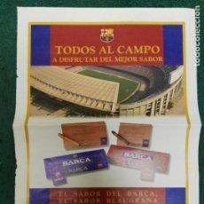 Coleccionismo deportivo: HOJA GRANDE PUBLICIDAD CIGARRILLOS Y PUROS FÚTBOL CLUB BARCELONA BARÇA . Lote 72297467