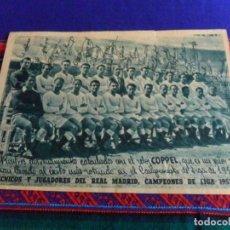 Coleccionismo deportivo: CARTEL REAL MADRID CAMPEONES LIGA 1953 1954 CON FIRMAS DE JUGADORES. RELOJ COPPEL. REGALO BANDERÍN.. Lote 74408923