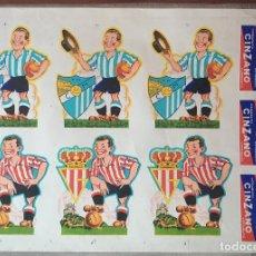 Coleccionismo deportivo: CARTEL PUBLICIDAD FUTBOL SPOTING GIJON CD MALAGA REAL OVIEDO CALCOMANIAS AÑOS 50. Lote 77828113