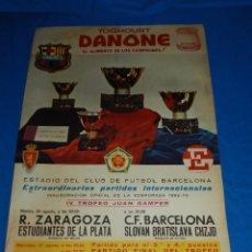 Coleccionismo deportivo: (M) CARTEL DANONE IV TROFEO JUAN GAMPER 1969 / 70 FC BARCELONA , ESTUDIANTES DE LA PLATA, SLOVAN BRA. Lote 78992181
