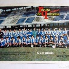 Coleccionismo deportivo: R.C.D. ESPAÑOL. POSTER ORIGINAL 46 X 33 REVISTA DE QUINIELAS PUEBLO. Lote 87560804