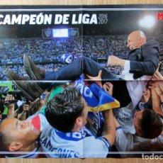 Coleccionismo deportivo: POSTER REAL MADRID CAMPEON LIGA 2016-17 DOBLE ZIDANE SERGIO RAMOS CHAMPIONS SPANISH LEAGUE. Lote 88199380