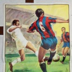 Coleccionismo deportivo: CARTEL FUTBOL, VALENCIA CF -BARCELONA , MARZO 1963 , DONAT SAURI , LITOGRAFIA , ORIGINAL. Lote 88989896