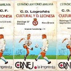 Coleccionismo deportivo: LOTE 3 CARTELES PARTIDOS DE FUTBOL CULTURAL LEONESA PALENCIA LOGROÑES NUMANCIA ESTADIO AMILIVIA LEÓN. Lote 89174896