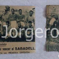 Coleccionismo deportivo: R.OVIEDO. LOTE 2 RECORTES PERMANENCIA LIGA 1941-1942 EN CHAMARTÍN CONTRA EL SABADELL. Lote 97370411