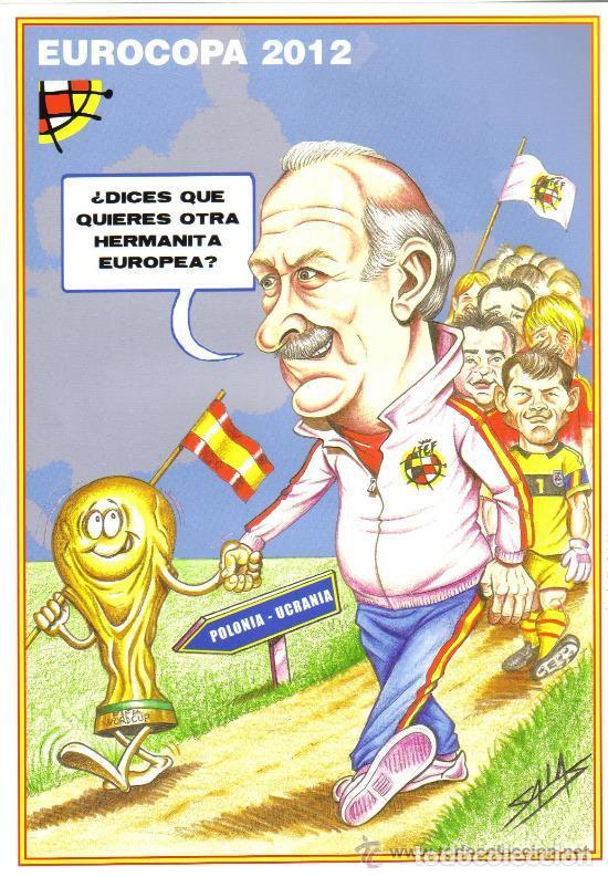 CARICATURA EUROCOPA 2012 - LAMINA TAMAÑO FOLIO EMITIDA POR LA FEDERACION ESPAÑOLA DE FUTBOL (Coleccionismo Deportivo - Carteles de Fútbol)