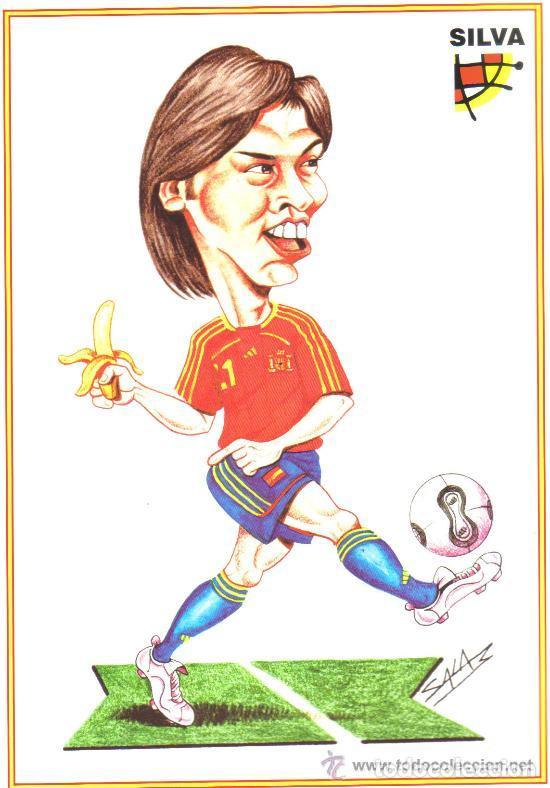 CARICATURA DE SILVA - LAMINA GRANDE TAMAÑO FOLIO EMITIDA POR LA FEDERACION ESPAÑOLA DE FUTBOL (Coleccionismo Deportivo - Carteles de Fútbol)
