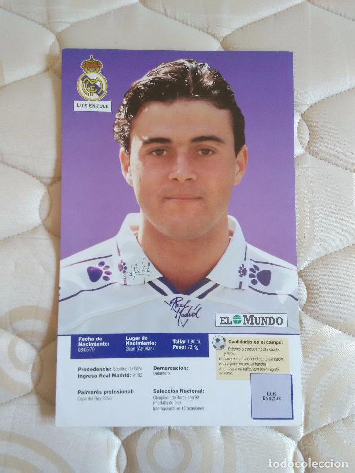 ANTIGUA LAMINA POSTAL 1 PÁGINA MUY RARA: LUIS ENRIQUE CAMISETA DEL REAL MADRID 1994-1995, LIGA 94-95 (Coleccionismo Deportivo - Carteles de Fútbol)