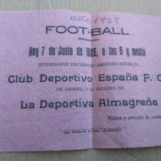 Coleccionismo deportivo: CARTEL FÚTBOL AÑOS 20. ALMAGRO, CIUDAD REAL. Lote 99145223