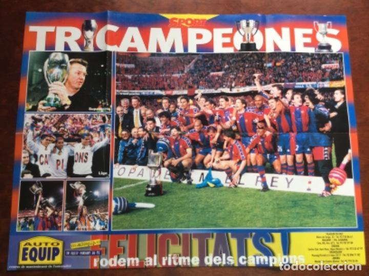 PÓSTER TRICAMPEONES FÚTBOL CLUB BARCELONA BARÇA TEMPORADA 1994 (Coleccionismo Deportivo - Carteles de Fútbol)