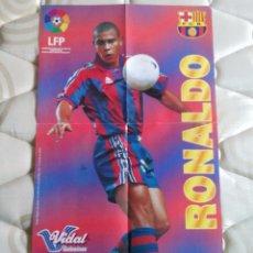 Coleccionismo deportivo: PÓSTER RONALDO (F.C.BARCELONA, BARÇA) LIGA DE LAS ESTRELLAS 96-97 PREMIO CHICLES VIDAL 1996-1997. Lote 101456975