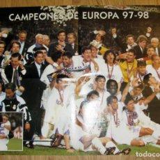 Coleccionismo deportivo: POSTER DOBLE REAL MADRID LA SEPTIMA CAMPEON COPA DE EUROPA 97-98 RAUL UEFA CHAMPIONS LEAGUE. Lote 102980811