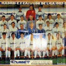 Coleccionismo deportivo: POSTER REAL MADRID GRAN FORMATO 1987-88 CAMPEON LIGA DIARIO AS. Lote 103082299