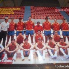 Coleccionismo deportivo: POSTER REVISTA PRONTO SELECCION BALONCESTO ESPAÑOLA ARGENTINA 1990. Lote 103428963