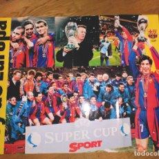 Coleccionismo deportivo: POSTER FUTBOL CLUB BARCELONA CAMPEONES SUPERCOPA EUROPA 1998 LUIS FIGO RIVALDO VAN GAAL LUIS ENRIQUE. Lote 104111623