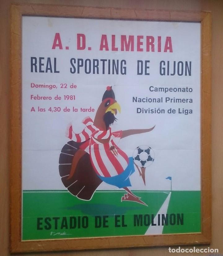 CARTEL ENMARCADO CUADRO SPORTING DE GIJON ALMERÍA AÑO 1981 (Coleccionismo Deportivo - Carteles de Fútbol)