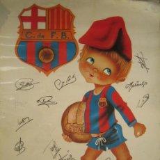 Coleccionismo deportivo: IMPORTANTE POSTER ORIGINAL FUTBOL CLUB BARCELONA BARÇA FIRMADO POR 20 JUGADORES AÑOS 70 CRUYFF. Lote 107091031