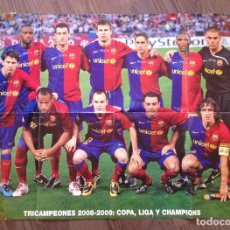 Coleccionismo deportivo: FC BARCELONA. POSTER HOLA TRIPLETE 2009.. Lote 111436059