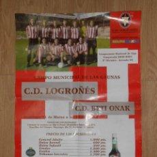 Coleccionismo deportivo: CARTEL PARTIDO DE FUTBOL EN LAS GAUNAS. LOGROÑES VS. BETI ONAK. 11 DE MARZO 2001. TDKP1. Lote 113896011