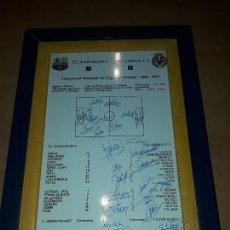 Coleccionismo deportivo: BARCELONA VILLAREAL CARTEL BALDOSA CERAMICA 2000-2001 FIRMADO. Lote 115365555