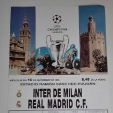 Coleccionismo deportivo: CARTEL CHAMPIONS LEAGUE 1998. REAL MADRID - INTER MILAN.. Lote 115592927
